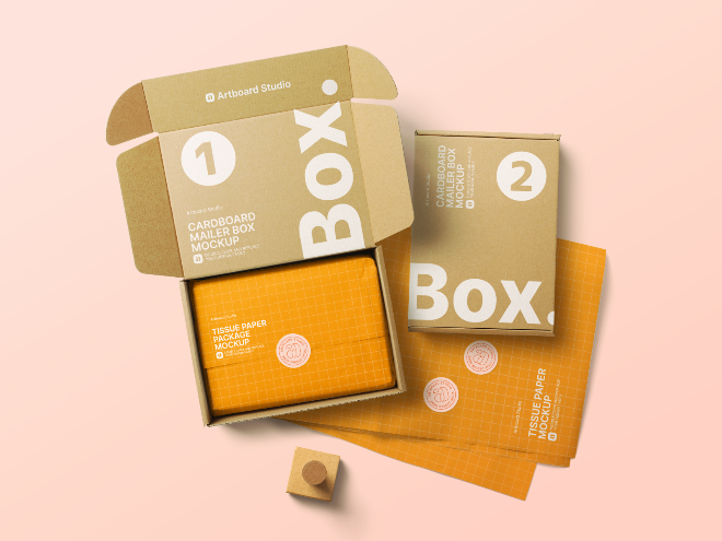 Cardboard Mailer Box Mockup Template