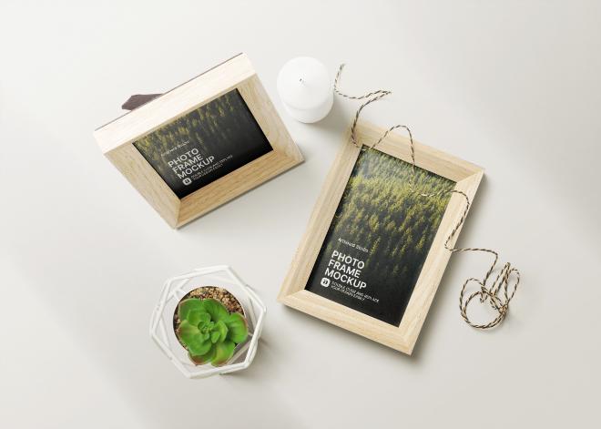 Wooden Photo Frames Mockup Template