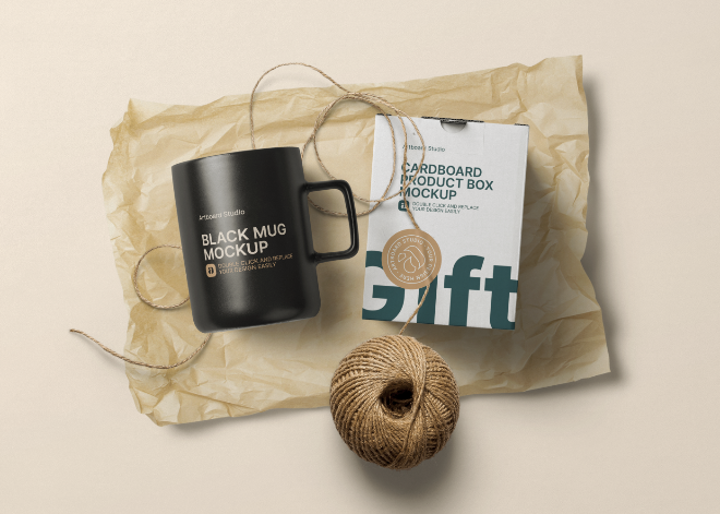 Black Mug Gift Package Mockup Template