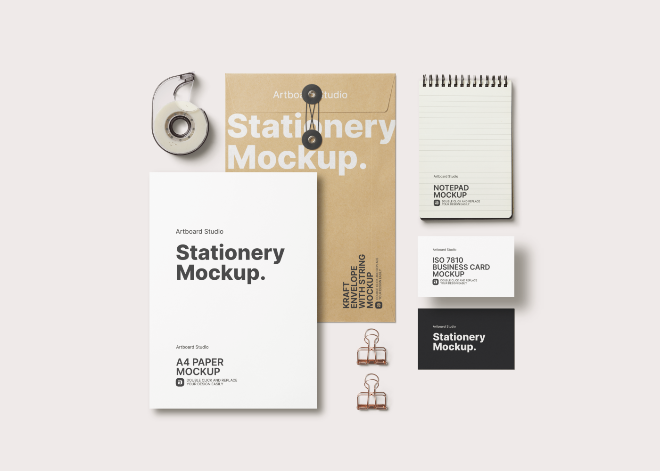 Simple Top View Stationery Branding Mockup Template