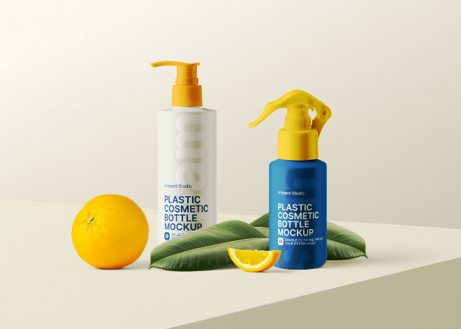 Sunscreens Cosmetic Bottle Mockup Template