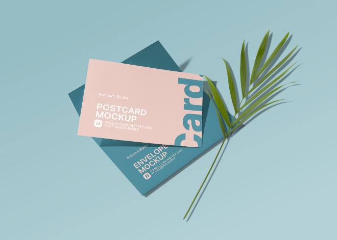 Postcard and Envelope Mockup Template