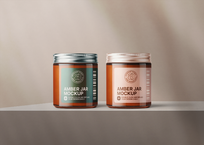 Amber Glass Cosmetic Jar with Metallic Cap Mockup Template
