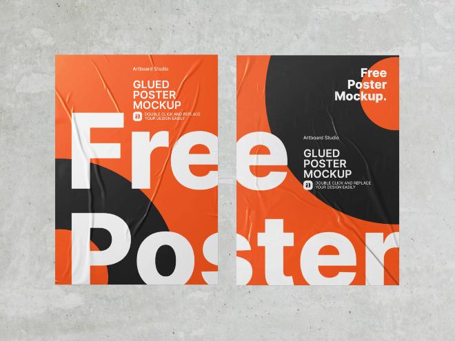 Free Glued Poster Mockup Template