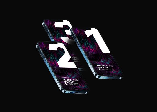 Dark/Light Themed iPhone 12 Pro Mockup Template