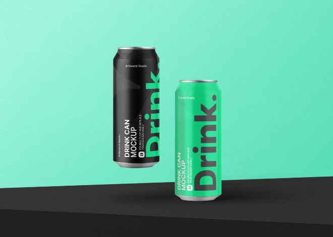 Matte Metallic Drink Cans Mockup Template