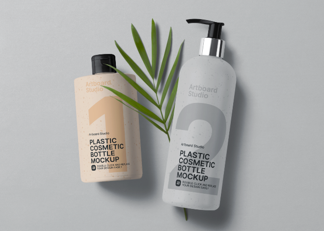 Body Lotion and Pump Cosmetic Bottle Mockup Template