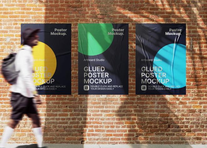 Glued Urban Poster Mockup Template