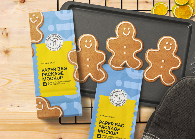 Close-up Paper Bag Cookie Packaging Mockup Template