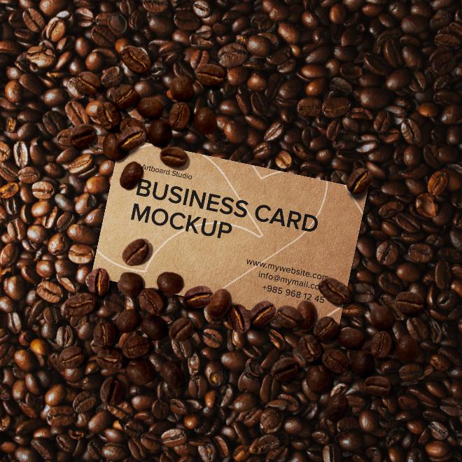 Coffee Business Card Mockup Scene