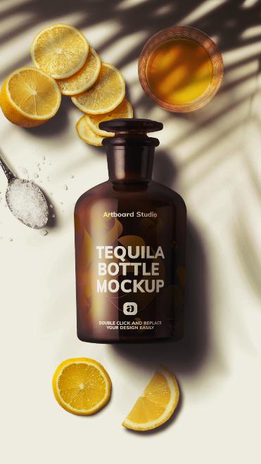Tequila Bottle Mockup Scene