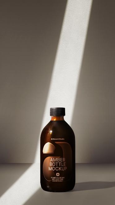Amber Bottle Mockup Scene