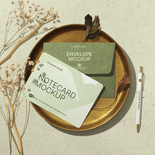Envelope & Notecard Mockup Scene