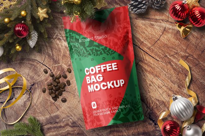 Christmas Coffee Bag Mockup Scene