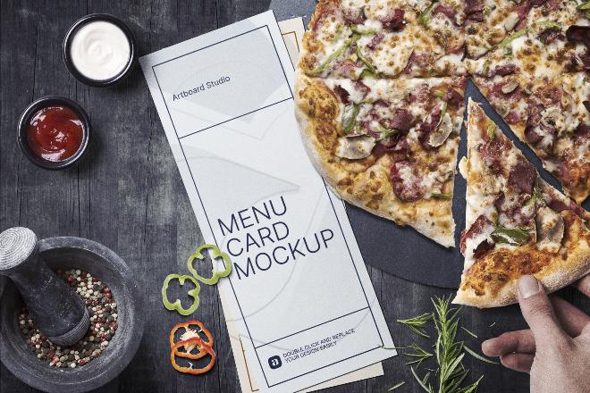 Pizza Menu Card Mockup Scene