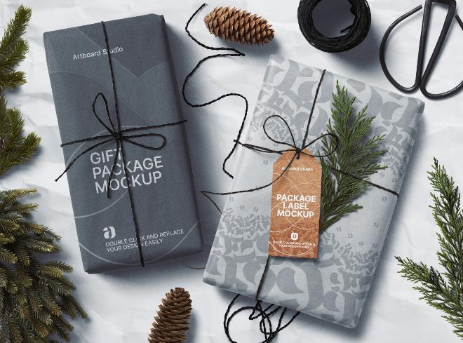 Gift Package Mockup Scene