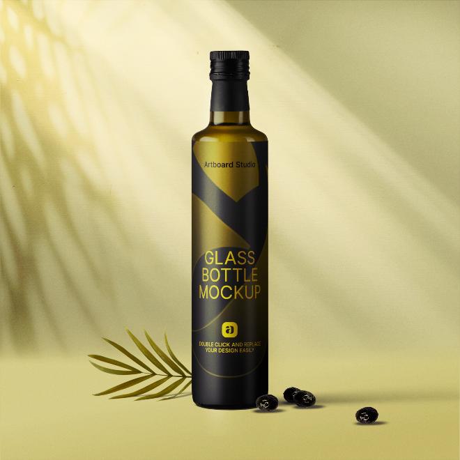 Olive Oil Bottle Mockup Scene