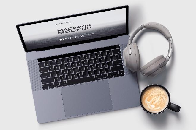 Macbook&Headphone Mockup Scene