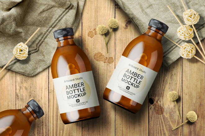 Amber Bottle Mockup Template