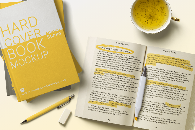 Hard Cover&Open Book Mockup Template