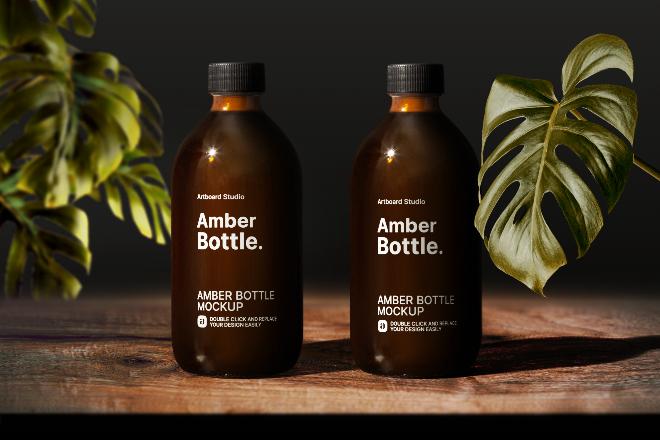 Amber Bottles Mockup Template