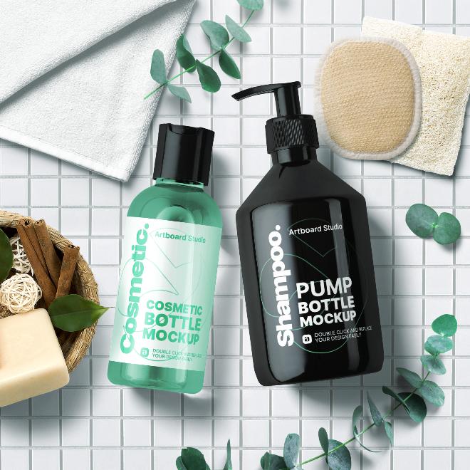Cosmetic Bottle&Pump Bottle Mockup Template