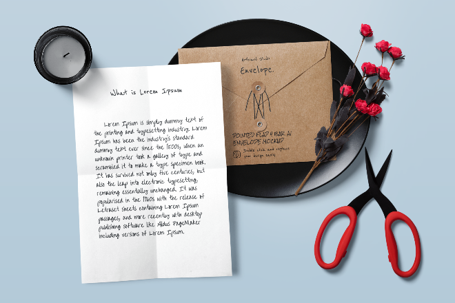 Pointed Flap Envelope Mockup Template