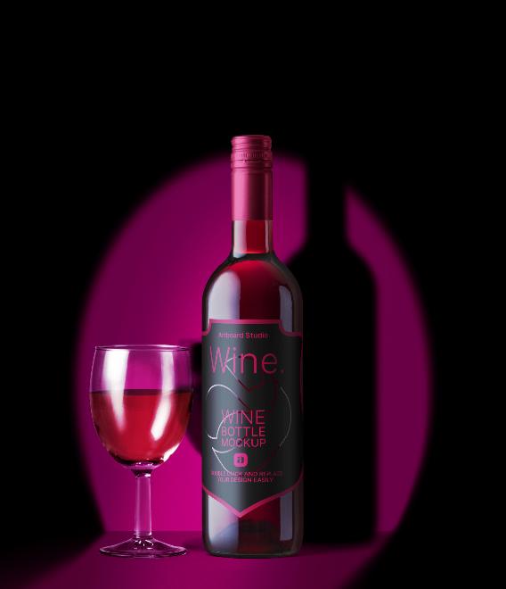 Wine Bottle & Glass Mockup Template